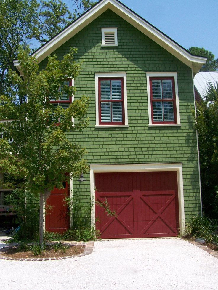 Green House With Red Trim Joy Studio Design Gallery