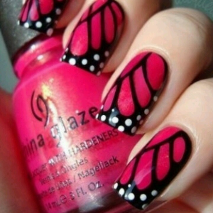 Butterfly nailslovely art work | nails | Pinterest