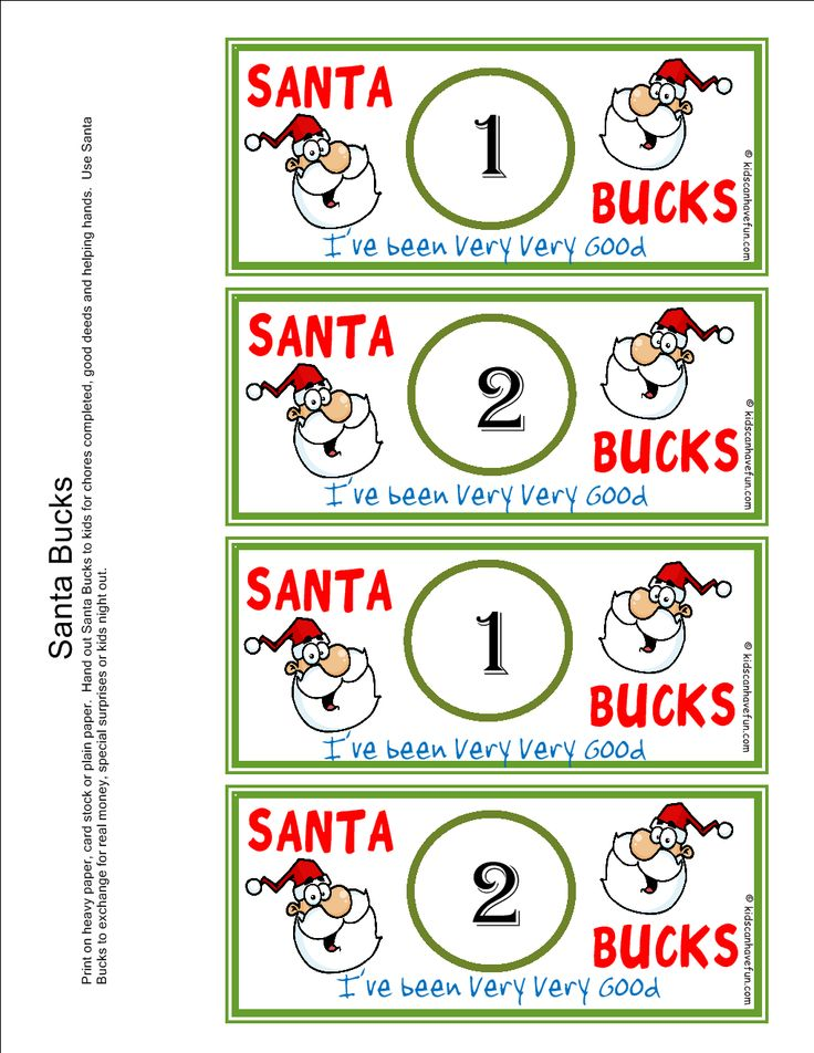 Santa bucks reward kids earn bucks during the holidays christmas