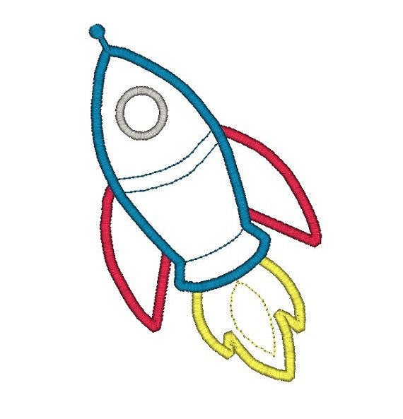 Rocket applique machine embroidery design instant download