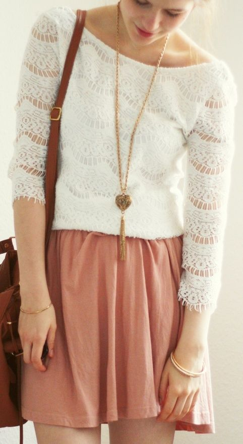 white lace shirt and pink color skirt