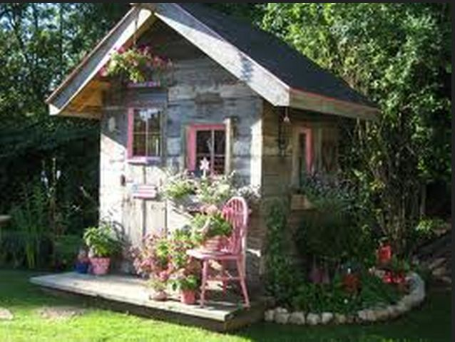 Pink pretty garden shed Outhouses Garden Sheds