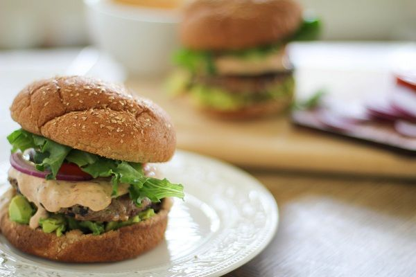 Southwest Turkey Burgers with Chipotle Yogurt Sauce | Recipe