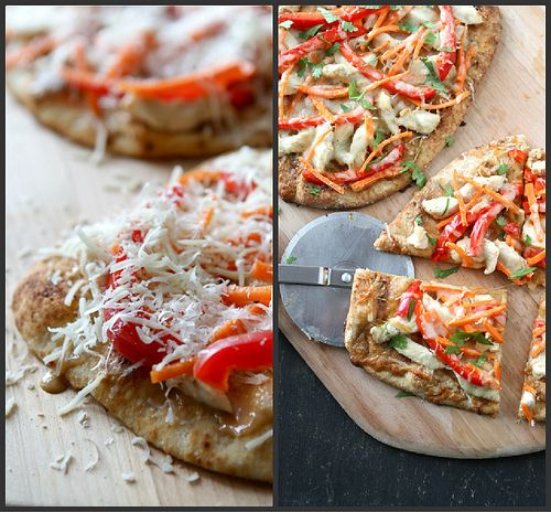 Thai Chicken Naan Pizza Recipe with Peanut Sauce, Red Pepper & Carrots ...