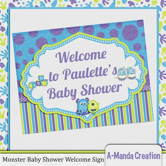 little monster baby shower custom welcome sign