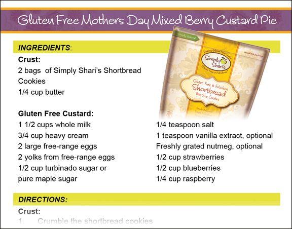 Gluten Free Mothers Day Mixed Berry Custard Pie #Recipes
