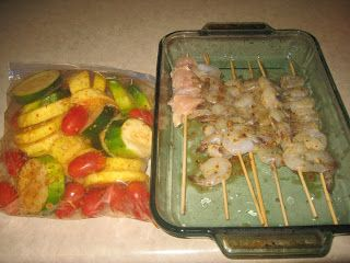 ... Spicy Grilled Shrimp Kabobs with Grilled Zucchini, Squash and Tomatoes