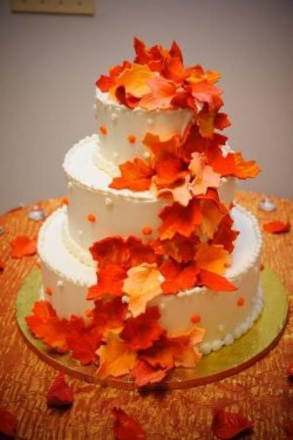 Cake Decor Fall : Autumn Leaves Wedding Cake weddings,parties and event ...