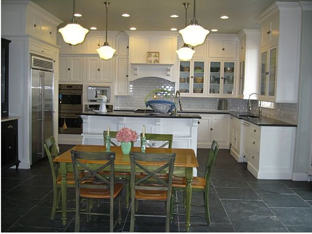 Pin by cordie gary on kitchens pinterest for Kitchen slate floor white cabinets