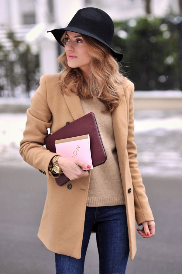 Fall / Winter - street & chic style - camel coat + camel sweater + dark denim skinnies + black bohemian hat