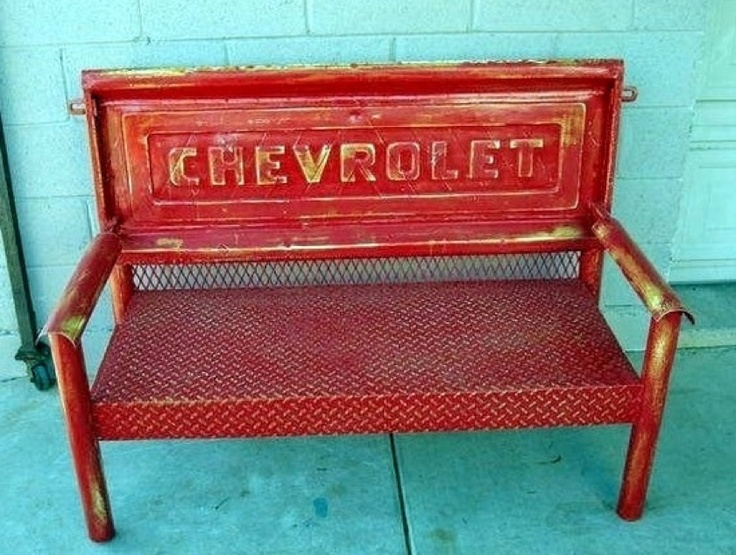 Upcycled Chevy pickup tailgate bench