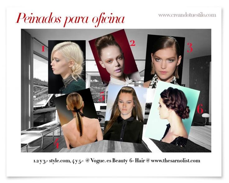 Peinados para la oficina  http://creandotuestilo.com/2012/06/26/como-peinarme-para-la-oficina/
