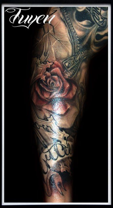 Half Sleeve religious Tattoo Drawings for women | ... rose ...