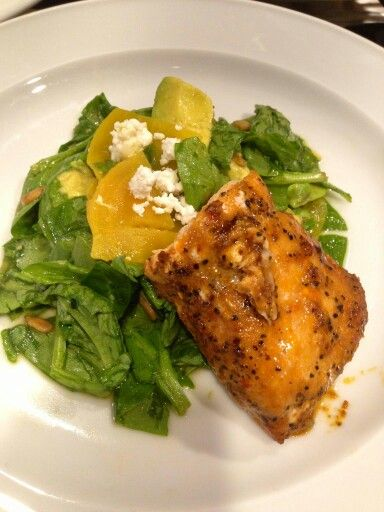 Roast Alaska wild salmon with spinach salad, golden beets, and ...