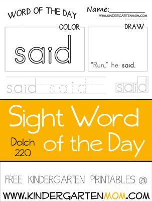 Printables  Pinterest  Phonics Word   Sight  sight word here printables