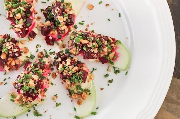 Apples with Roasted Beet Tartare, Cashew Cheese, and Candied Walnuts