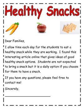 healthy snack letter and information back to school pinterest. Black Bedroom Furniture Sets. Home Design Ideas