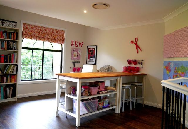Is finished two ikea kitchen islands used as one long craft table