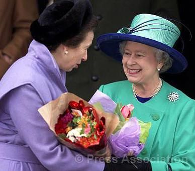 The Queen and The Princess Royal leave the Church of St. Mary Magdalene on the Sandringham Estate in Norfolk after attending the Christmas Day service in 2001.