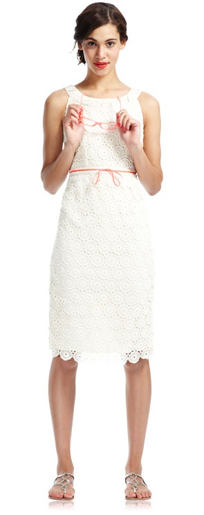 Simply Broderie Anglaise dress with subtle colour belt