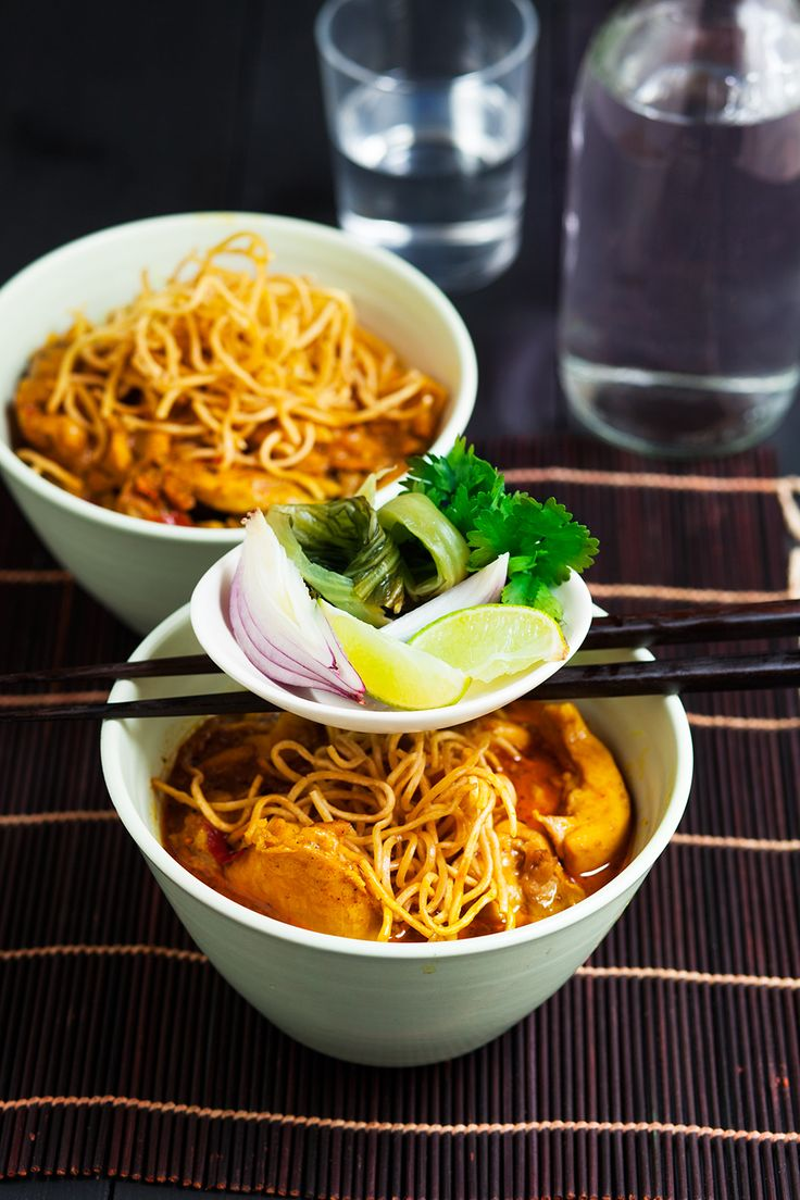 Chiang Mai chicken noodles with pickled vegetables. www.therecipekit ...