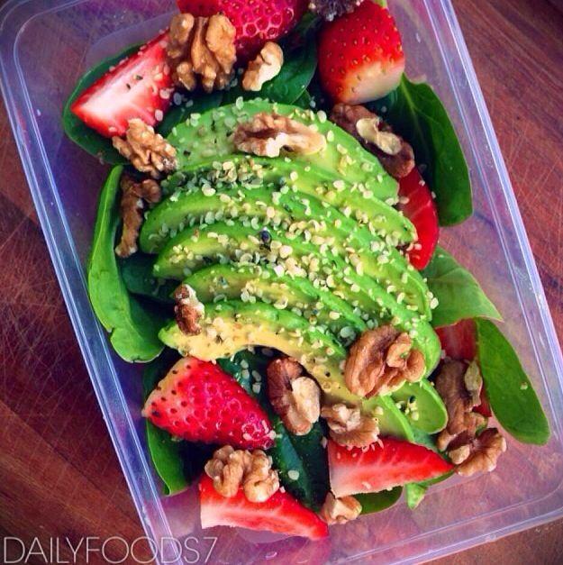 Avocado, strawberry & spinach salad | SALADS | Pinterest