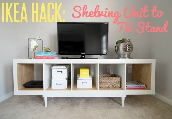 Ikea hack shelving unit to tv stand for Ikea expedit bookcase tv stand