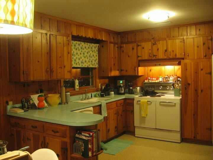 Knotty pine kitchen from the late 1960 39 s 1960s pinterest for 1960 kitchen cabinets