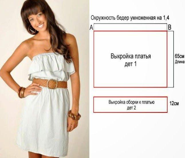 Выкройка платье с воланами