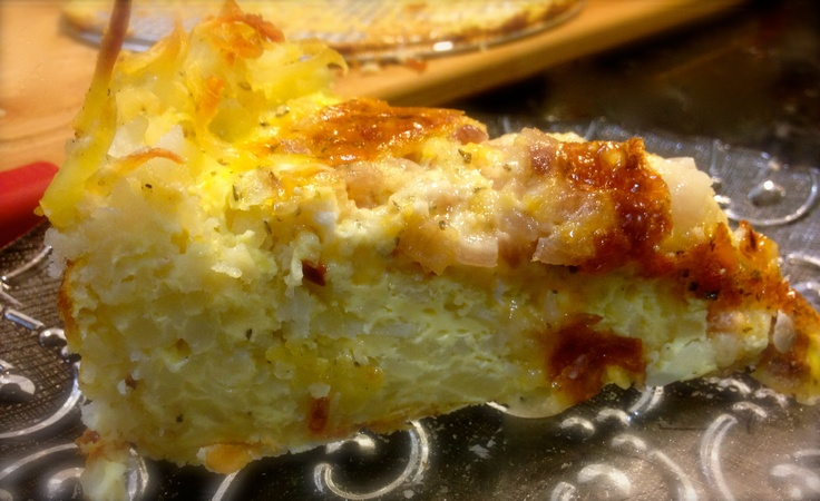 Quiche with a Hash Brown Crust - You could use Spinach and Gruyère ...