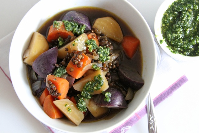 More like this: parsley pesto , root vegetables and lentil soup .