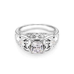 princess cut engagement rings | Vintage Princess Cut Engagement Ring