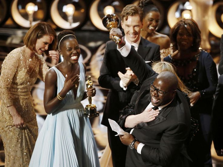 Director Steve McQueen literally jumping for joy at '12 Years a Slave' winning Best Picture