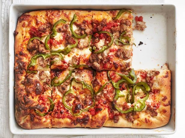 Sicilian Pizza with Sausage and Peppers Recipe : Food Network Kitchen ...