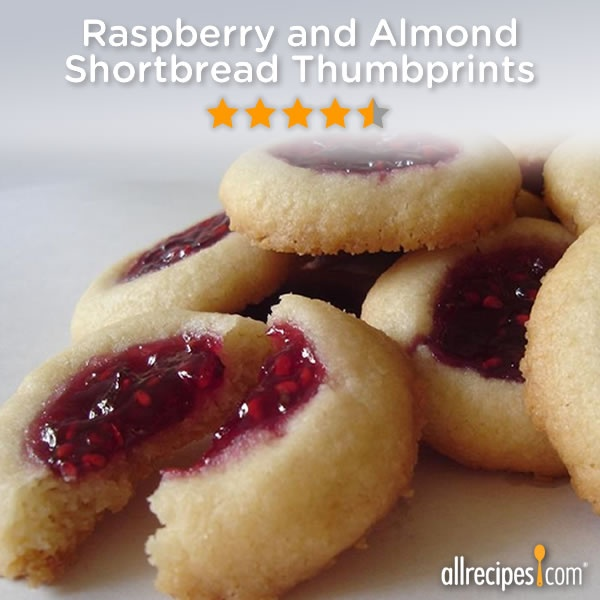 ... for your cookie swap! (Raspberry and Almond Shortbread Thumbprints