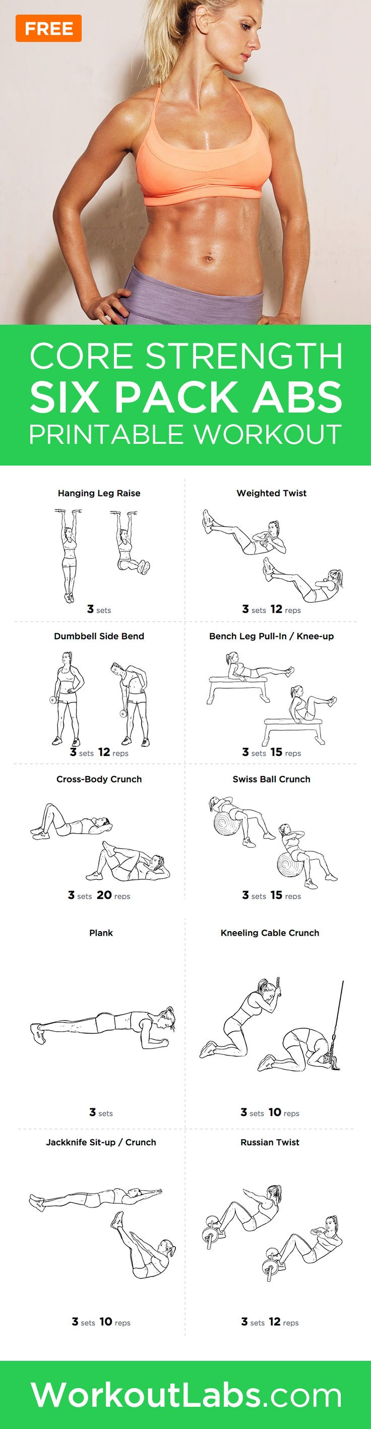 photograph relating to Printable Workout Routine known as 6 Pack Ab muscles Main Power Exercise Plan for Adult males and Females