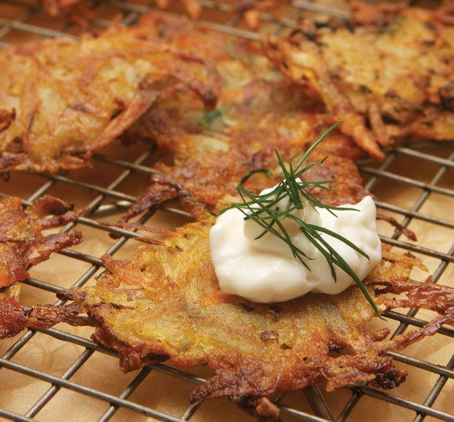 Mayim Bialik's Root Vegetable Latkes #vegan #recipe #latke
