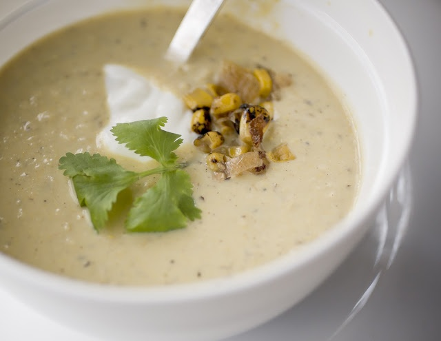 Corn soup. DELISH! Added slightly less chipotle pepper than called for ...