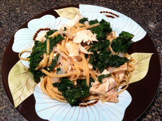 Lemon Garlic Chicken Linguini with Kale   Recipe