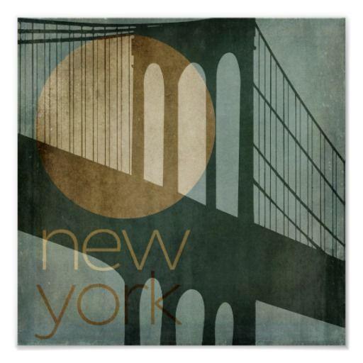 Art deco new york city brooklyn bridge - Style new york deco ...