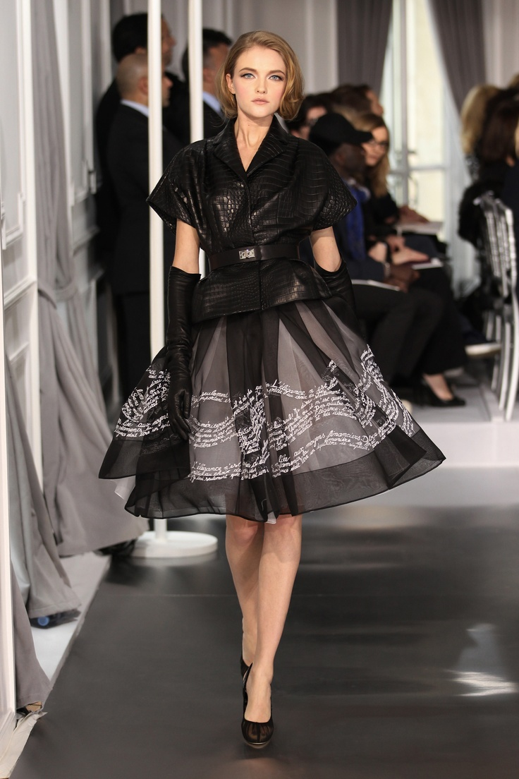 Dior Haute Couture Spring Summer 2012 – Look 10: Black crocodile jacket and embroidered black silk skirt. Discover more on www.dior.com