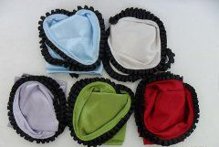 Satin triangular scarves with velvet ruffled trim $10