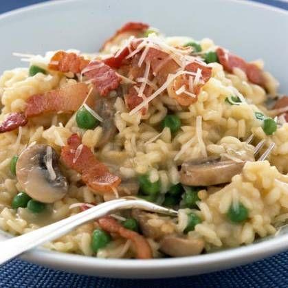 Mushroom, pea and bacon risotto | Recipe