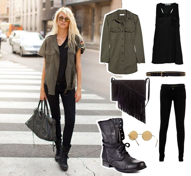 Military inspired cut off shirt, round vintage shades, studded belt, boots