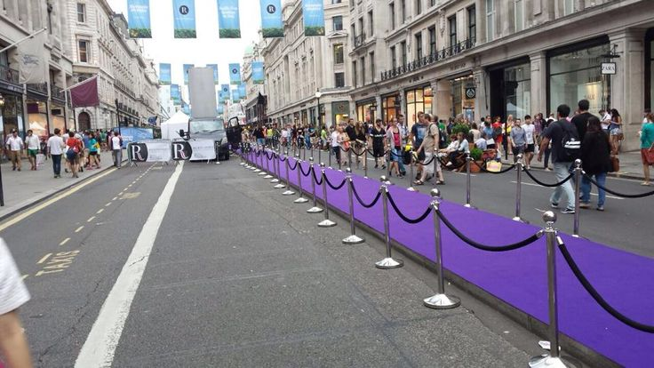 Rope and post hire in central london how great does the purple carpet