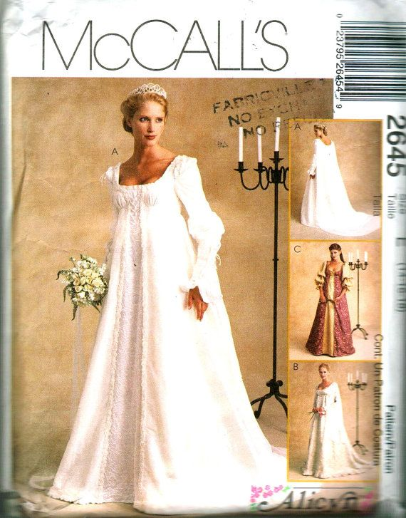 McCalls No 2645 Sewing Pattern Wedding Dress C2000 Vintage Style UNCUT UC S