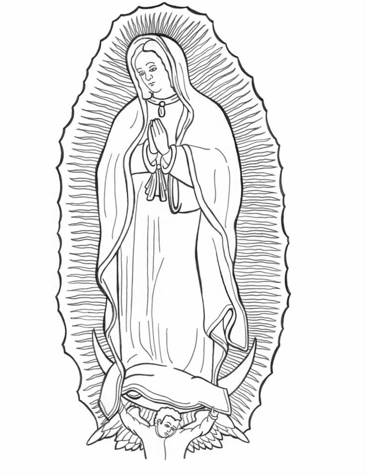 Our lady of guadalupe coloring pages pinterest for Virgen de guadalupe coloring pages
