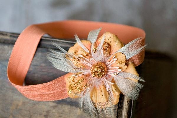 Orange Flower Headbands, Baby Headbands, Feather Flower Headbands, Newborn Headbands, Baby Flower Headbands, Sparkly Flower