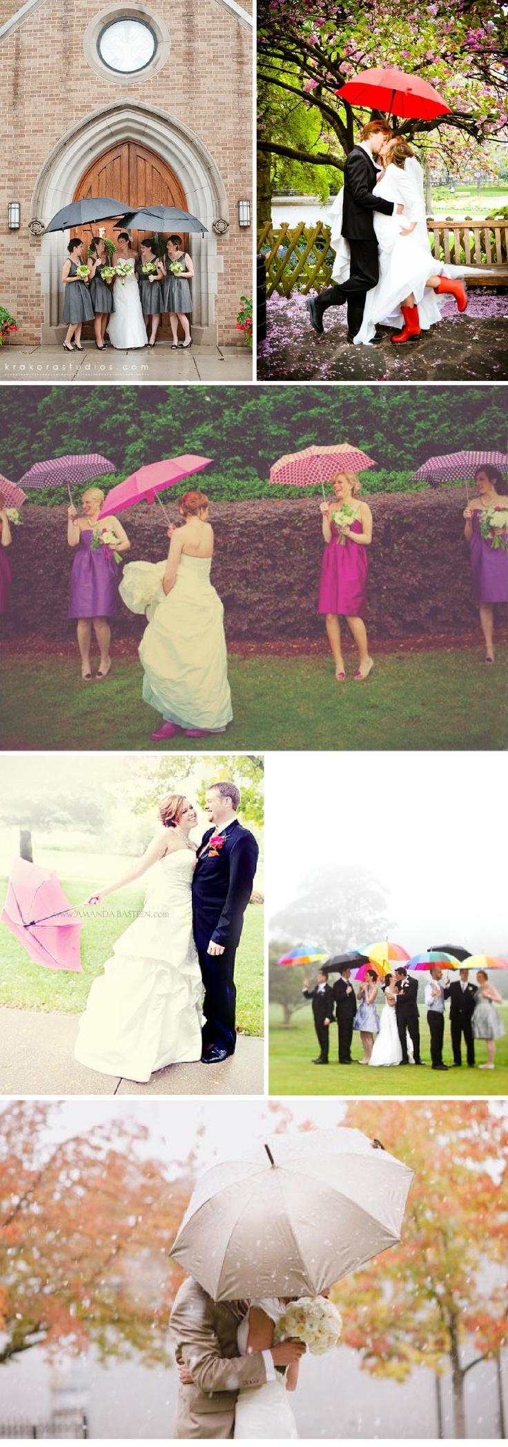 Mariage pluvieux - sous la pluie