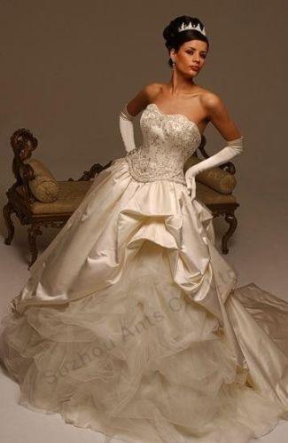 ... Hochzeitskleid-Tragerlos-Bodenlang-Wunschgrose-farbe-Taft-Tull